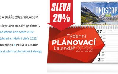 Kalendáře a diáře 2022 se slevou 22%